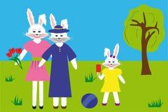 Lièvres blancs : grand-mère, mère et fille en parc illustration stock