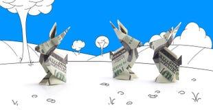 Lièvres d'origami des billets de banque Photographie stock libre de droits