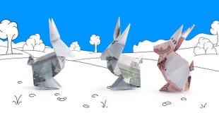 Lièvres d'origami des billets de banque Photographie stock