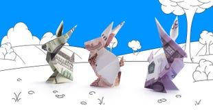 Lièvres d'origami des billets de banque Image libre de droits