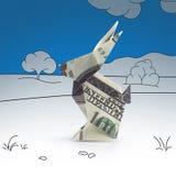 Lièvres d'origami des billets de banque Photos libres de droits