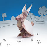 Lièvres d'origami des billets de banque Photos stock