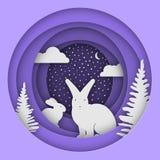 Lièvres dans la forêt dans la neige Noël, illustration du ` s de nouvelle année Style de papier Photo stock