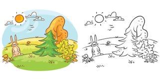 Lièvres dans le sauvage un jour ensoleillé, coloré et noir et blanc illustration libre de droits