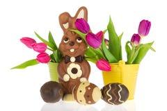 Lièvres de Pâques de chocolat photographie stock libre de droits