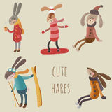 Lièvres mignons illustration stock