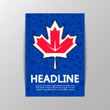 Liść klonowy na tle pucharu świata hokej Obraz Stock