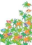 Liść kolorowy Ptak Card_eps Obraz Stock