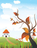 Liść z domem w krajobrazie krajobraz   Obrazy Stock