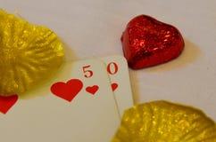 50 liści kierowa złota karta fotografia stock