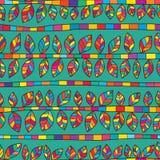 Liścia bezpłatny horyzontalny kolorowy bezszwowy wzór ilustracji