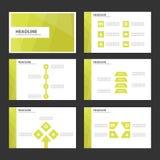 Liścia Infographic elementów ikony prezentaci zielonego szablonu płaski projekt ustawia dla reklamowej marketingowej broszurki ul Zdjęcie Royalty Free
