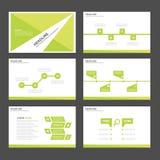Liścia Infographic elementów ikony prezentaci zielonego szablonu płaski projekt ustawia dla reklamowej marketingowej broszurki ul ilustracja wektor