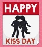 Liścia kalendarz z Czule parą dla buziaka dnia, Wektorowa ilustracja royalty ilustracja