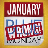 Liścia kalendarz z Mylnym znaczkiem Wektorowa ilustracja, który Demystify Blue Monday ilustracja wektor