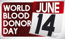 Liścia kalendarz z przypomnienie datą dla Światowego Krwionośnego dawcy dnia, Wektorowa ilustracja ilustracja wektor