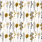 Liścia Seedpod gałąź wektoru wzór, Rysujący Bezszwowy tło ilustracji