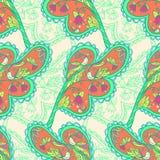 Liścia wzór z ptakami i kwiatami Zdjęcia Royalty Free