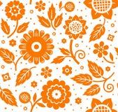 Liście i, dekoracyjny tło, bezszwowy, pomarańcze, wektor Obrazy Stock