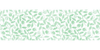 Liście i zawijas tekstylna horyzontalna granica Zdjęcia Stock