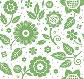 Liście, kwiaty, tło, bezszwowy, zielony i, dekoracyjni, i biel, wektor Obrazy Royalty Free