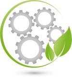 Liście, przekładni koło, IT usługa i Internetowy logo, ilustracja wektor
