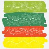 Liście z jaskrawym pełnego koloru tłem royalty ilustracja