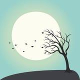 Вычерченное дерево рук что капельки воды падений на li предпосылки луны Стоковые Фото