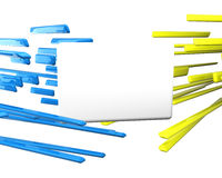 Li bleu du croisement 3d au-dessus de jaune plat des textes Images stock