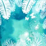 Liście na Zielonym akwareli tle Fotografia Royalty Free