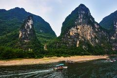 Li flod, Guilin Yangshuo Guangxi Kina Fotografering för Bildbyråer