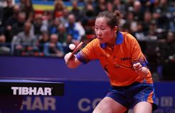 LI Jie from Nederlands backhand. Montreux, Switzerland, 3 February 2018. LI Jie from Nederlands backhand women Final at the ITTF European Top 16 Stock Photography