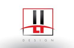 LI L I Logo Letters avec des couleurs et le bruissement rouges et noirs Photographie stock