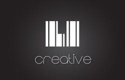 LI L lettre Logo Design With White d'I et lignes noires Photo libre de droits
