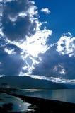 Li Mu lake side scenery. Li Mu lake in Xinjiang stand side watching the blue sky and white clouds, clouds block the sun's not dazzling Royalty Free Stock Photo