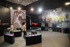 Li ning stand. Famous sports brands in China Royalty Free Stock Photography