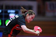 LI Qian from Poland backhand. 2017 European Championships - 1/4 Final. Luxembourg Stock Image