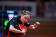 LI Qian from Poland backhand. 2017 European Championships - First Round. Luxembourg Royalty Free Stock Photo