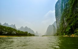 Li river baboo mountain landscape in Yangshuo Guilin China Royalty Free Stock Images