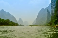Li river baboo mountain landscape in Yangshuo Guilin China Stock Photos