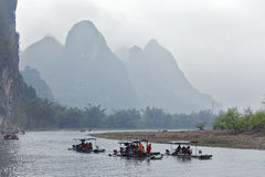 Li River,Guilin,China, 22th, March, 2014, boats sail in Li River Royalty Free Stock Images