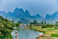 Li river Guilin Yangshuo Guangxi  China. Guangxi, China - September 29 , 2014 :li river between Guilin and Yangshuo in Guangxi province  China Stock Photography