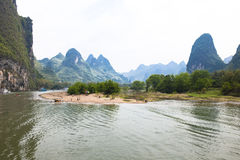 Li-River - Mountains, Island Stock Photo