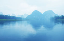 The Li River and karst mountains Royalty Free Stock Image