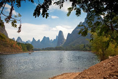 Li River and karst mountains. In Guilin, China Royalty Free Stock Photo
