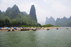Li River and Karst Mountains of Guilin Royalty Free Stock Photos