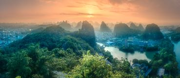 Li River and Karst mountains Guilin, Yangshuo. Arial view of Guilin, Li River and Karst mountains Yangshuo during sunrise with sun rays Guangxi Province, China stock image