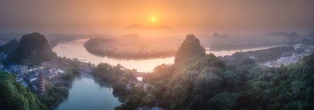 Li River and Karst mountains Guilin, Yangshuo royalty free stock photos