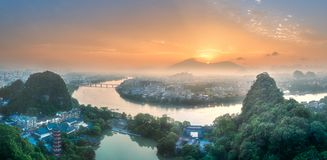 Li River and Karst mountains Guilin, Yangshuo. Arial view of Guilin, Li River and Karst mountains Yangshuo and Xingping, Guangxi Province, China stock image