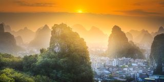 Li River and Karst mountains Guilin, Yangshuo royalty free stock photography